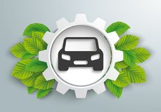 White Gear Wheel Green Leaves Eco Car. Infographic design with gear wheel, car and green eco leaves on the gray background Stock Image