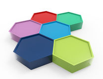 Infographic design with hexagons on the grey background. Royalty Free Stock Photos