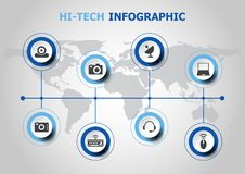Infographic design with hi-tech icons Royalty Free Stock Photo
