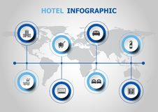 Infographic design with hotel icons Royalty Free Stock Photo