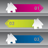 Infographic design with house labels Stock Photos