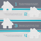 Infographic design with house shaped photo containers. And numbered options Royalty Free Stock Images