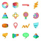 Infographic design icons set, cartoon style. Infographic design icons set. Cartoon illustration of 16 infographic design icons for web stock illustration