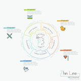 Infographic design layout, circular chart with 5 elements located around central pictogram and text boxes. Steps to business project success. Vector Stock Images