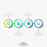 Infographic design layout. Horizontal diagram with 4 round elements successively connected by line, icons and text boxes. Four steps to obtain profit concept royalty free illustration