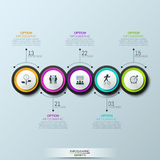 Infographic design layout, 5 multicolored circular elements with pictograms. Connected with text boxes. Monthly business progress concept. Vector illustration Vector Illustration