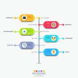 Infographic design layout with vertical timeline and 6 colorful rounded elements Royalty Free Stock Photos
