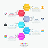 Infographic design layout, vertical timeline and 6 lettered hexagonal elements Royalty Free Stock Photo