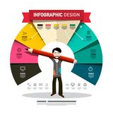 Infographic Design with Man Holding Big Pencil. Infographics Template with Colorful Papers and Icons. Company Annual Report. Infographic Design with Man Holding vector illustration
