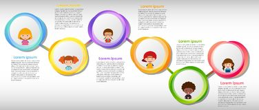 Infographic design with many children. Illustration Stock Photo
