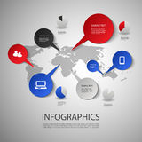 Infographic Design - Map and Icons. Colorful Infographic Design Template with Icons and World Map - Illustration in Freely Editable Vector Format Royalty Free Stock Photography