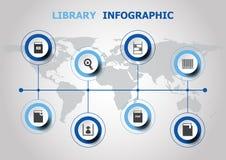 Infographic-Design mit Bibliotheksikonen lizenzfreie abbildung