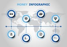 Infographic design with money icons Royalty Free Stock Photography