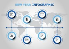 Infographic design with new year icons Stock Photo