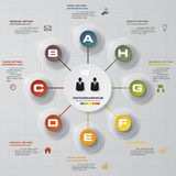 Infographic design with 8 options circles on the grey background. Stock Image