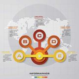 Infographic design with 5 options circles on the grey background. Stock Photography