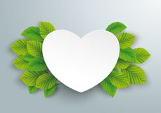 White Paper Heart Green Beech Leaves. Infographic design with paper heart and green eco leaves on the gray background Royalty Free Stock Images