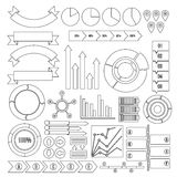 Infographic design parts icons set, outline style. Infographic design parts icons set. Outline illustration of 16 infographic design parts vector icons for web Stock Photos
