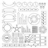 Infographic design parts icons set, outline style. Infographic design parts icons set. Outline illustration of 16 infographic design parts icons for web stock illustration