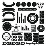 Infographic design parts icons set, simple style. Infographic design parts icons set. Simple illustration of 16 infographic design parts vector icons for web Stock Photo
