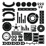 Infographic design parts icons set, simple style. Infographic design parts icons set. Simple illustration of 16 infographic design parts icons for web stock illustration