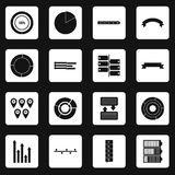 Infographic design parts icons set squares vector. Infographic design parts icons set in white squares on black background simple style vector illustration Royalty Free Stock Photos