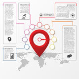 Infographic design. Report template with location pointer. Vector Stock Photo