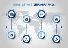 Infographic design with resl estate icons Royalty Free Stock Photos