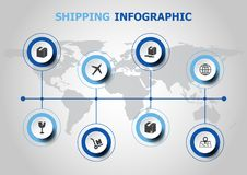 Infographic design with shipping icons Royalty Free Stock Photos