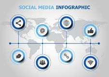 Infographic design with social media icons Stock Photos