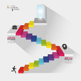 Infographic design. Stair with open doors. Vector illustration Royalty Free Stock Images
