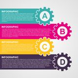 Infographic design style colorful gears. Vector illustration Stock Images