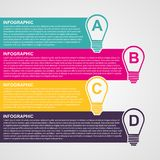 Infographic design style colorful light bulb. Vector illustration Stock Photos