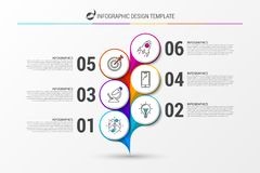 Infographic design template. Abstract flower with icons. Vector illustration Royalty Free Illustration