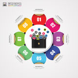 Infographic design template. Briefcase with icons. Vector Stock Images