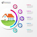 Infographic design template. business concept with house. Vector illustration royalty free illustration