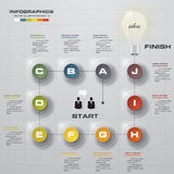 Infographic design template and business concept with 10 options, parts, steps or processes. Royalty Free Stock Images