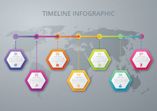 Infographic design template. Business concept with 7 options. Parts, steps or processes. Can be used for workflow layout, diagram, number options, web design Royalty Free Stock Image