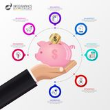 Infographic design template. Business concept with piggy bank. Vector illustration Royalty Free Stock Photo
