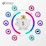 Infographic design template. Business concept with piggy bank. Vector illustration Royalty Free Stock Images