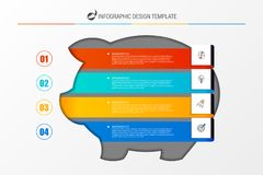 Infographic design template. Business concept with piggy bank. Vector illustration Royalty Free Stock Photography