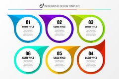 Infographic design template. Business concept with 6 steps. Can be used for workflow layout, diagram, banner, webdesign. Vector illustration royalty free illustration