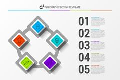 Infographic design template. Business concept with 5 steps. Can be used for workflow layout, diagram, banner, webdesign. Vector illustration Stock Photography