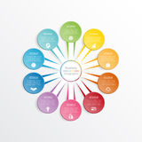 Infographic design template business concept for ten position. Royalty Free Stock Photos