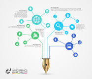 Infographic design template. Business network concept. Vector Stock Photo