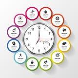 Infographic design template. Business plan. Modern clock. Vector Stock Image