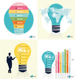 Infographic design template. Businessman showing Light bulb with Royalty Free Stock Image