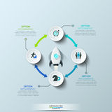 Infographic design template. 4 circular elements connected by double-headed arrows and space shuttle taking off on mission in center. Four steps to startup royalty free illustration