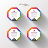 Infographic design template. Colorful hexagons. Vector Stock Image
