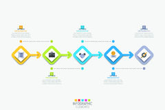 Infographic design template with 5 colorful square elements. Successively connected by arrows. Five steps to business product release. Vector illustration for royalty free illustration